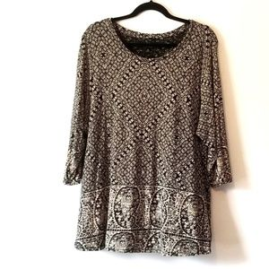 Lucky Brand tan black pattern blouse
